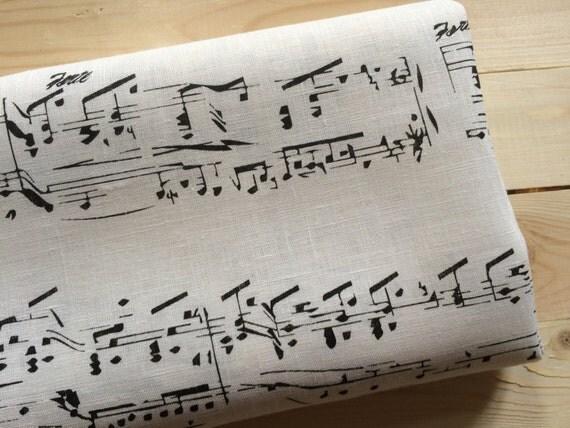 tessuto in lino spartiti musicali note bianco nero 100 lino