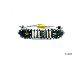 Silver band macrame bracelet, black and dark green