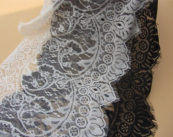 33CM Black Lace Fabric, Crochet Lace Fabric, Eyelash Lace Fabric, Fabric by 3Yards