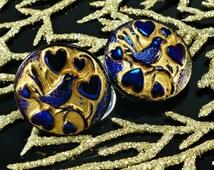 Handmade Czech Glass Buttons Dark Shiny Blue Matte Gold Bird Heart Valentine Love Size 10, 22.5mm 1pc