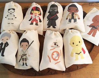 Star Wars Gift Party Favor Bags. Set of 9 -  5x7 6x8 7x9 7x11 10x12 Drawstring Birthday Gift Basket Bags Personalized NEW!