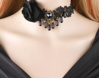 Romantic Black Lace Choker Necklace with Black Rose