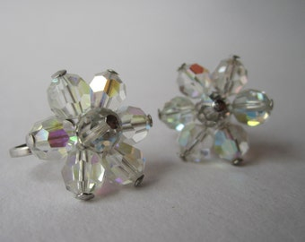 1950s vintage cut crystal, cluster clip-on earrings, screw back earrings