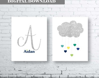 Initial Name Cloud Heart Rain Personalised Bedroom Nursery Wall Art Print - Digital Download- Set Of Two (2). Glitter Name Wall Art. boy