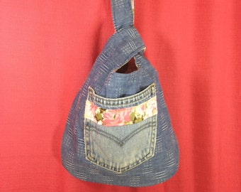 Project Bag, Knot Style from upcycled jeans and pillowcase