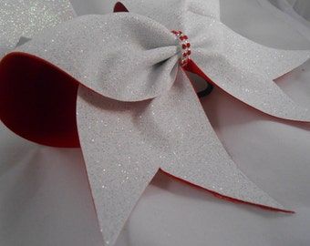 Cheer Bow CUSTOM Glitter on ANY COLOR grosgrain  by Blingitoncheerbowz
