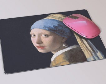Fabric Mousepad, Mousemat, 5mm Black Rubber Base, 19 x 23 cm - The Girl With A Pearl Earring by Johannes Vermeer Mousepad Mousemat