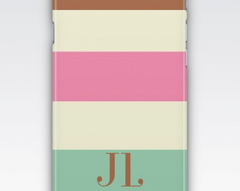 Case for iPhone 8, iPhone 6s,  iPhone 6 Plus,  iPhone 5s,  iPhone SE,  iPhone 5c,  iPhone 7,  Neopolitan Stripes Monogrammed