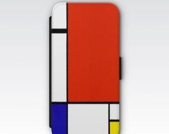 Wallet Case for iPhone 8 Plus, iPhone 8, iPhone 7 Plus, iPhone 7, iPhone 6, iPhone 6s iPhone 5s - Composition II Red Blue & Yellow Mondrian