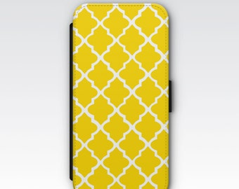 Wallet Case for iPhone 8 Plus, iPhone 8, iPhone 7 Plus, iPhone 7, iPhone 6, iPhone 6s, iPhone 5/5s - Yellow & White Phone Case