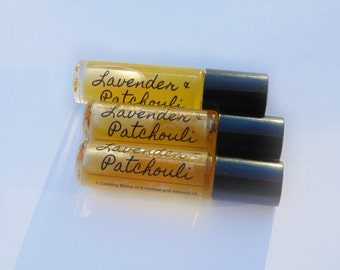 Essential Oil Roll-On, Lavender Patchouli Perfume.  All Natural, Perfume Aromatherapy, Essential Oil Perfume