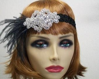 1920s headpiece, Flapper headpiece, Flapper headband, Feather headband, 1920s headband, Sequin headband, 1920s hair accessory, Roaring 20s