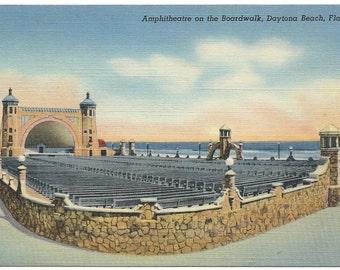 Daytona Beach, Florida Amphitheatre on the Boardwalk Linen Era Old Postcard - Unposted