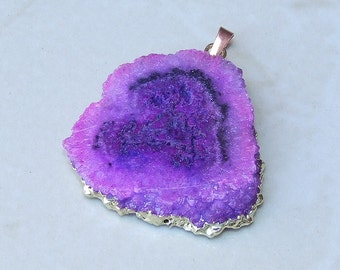 Purple Solar Quartz Pendant - Druzy Pendant - Gold Plated Edge and Bail - 39mm x 40mm - 5690