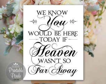 In Memory In Honor We Know You Would Be Here Today Remembrance Printable Wedding Sign Memory Table Instant Download (#MEM4B)
