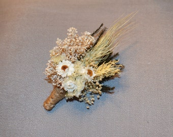 Wedding Boutonniere, Ivory Boutonniere -  Ivory Dried Flowers Ammodium Blonde Wheat - Can be Custom Made to Order