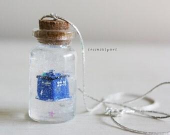 Tardis bottle charm necklace