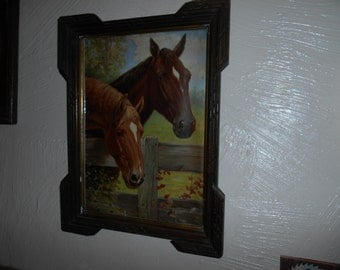 Retro Horse Decor, Great Horse Lover's Christmas Gift, Two Lovely Horses in Mid Century Vintage Frame, Great Equestrian Decor, Krista Gift