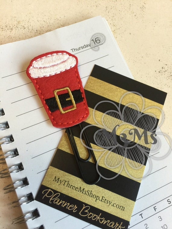 Santa Latte Coffee Paperclip, Paper Clip Bookmark, Santa Coffee Planner, Christmas Planner Accessories, Feltie Planner, Feltie Bookmark