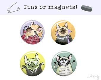 Halloween French Bulldog Magnets or Pinback Buttons - Frenchie Halloween Decor, French Bulldog Accessories, Frenchie Pins by Inkpug