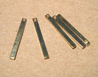 KC Gold Plated Brass Rectangle Bar Charms Pendant 19mm