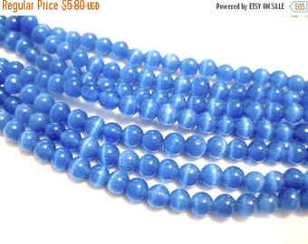 50% OFF Clearance Sale 100pcs Blue Cat's Eye Glass Beads 6mm Round