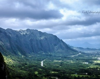 Oahu Mountain Print, Travel Photography, Wall Art, Hawaii, Mountain Range Picture, Large Print, Home Decor, Island Picture, Pali Highway