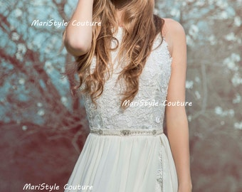 Open back Wedding Gown Bohemian Wedding Dress from chiffon and Lace Short dress Made to order