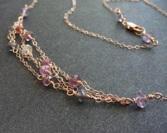 Rose Gold Spinel Necklace, Rose Gold Gemstone Necklace, Rainbow Gemstone Choker, Multi-color Gemstone Necklace, Spinel Necklace, Handmade