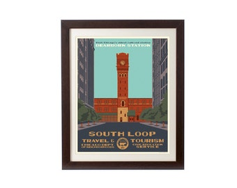 South Loop (Chicago Neighborhood) WPA-Inspired Poster