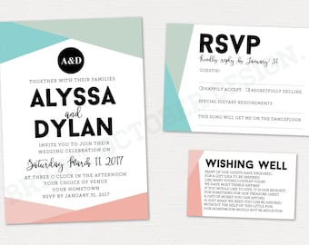 Geometric wedding invitation suite | digital download