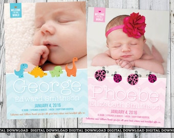 Birth Announcement Card   5x7   Welcome To The World