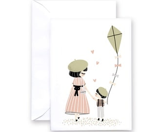 Mother Day-  Greeting Card - Mother and Child - 2 patterns: Boy or Girl