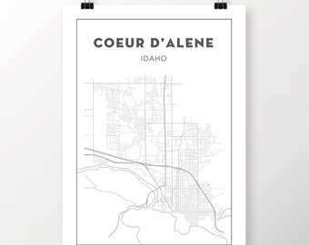 FREE SHIPPING to the U.S!! Coeur d'Alene Map Print