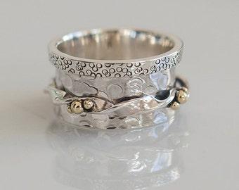 Dha Spinner Ring - Meditation Ring - Anti Stress Ring - Three Metal Rings - Multi Metal Ring - Mixed Metal Ring - Unisex Ring - Yoga Ring