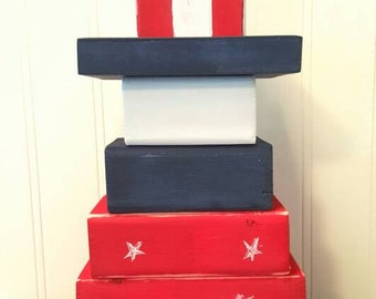 4th of July decor, Wooden Uncle Sam blocks, Red white and blue, Independence day, Fireworks, Summer porch, Holiday decor, Stackable Sam, USA