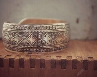 Bohemian Cuff Bracelet, Silver Printed and Hammered Cuff Bracelet