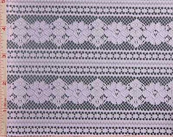 """Lavender Lilac Purple Flower With Stripes Lace Fabric Polyester 54-56"""""""