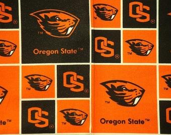 "Oregon State Beavers Football Checkered Sheeting Fabric Cotton 4 Oz 44-45"""