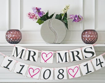 Engagement Party decoration Save the Date Banner - Wedding Banner - Mr & Mrs Banner - Engagement Photo Prop - Wedding Sign