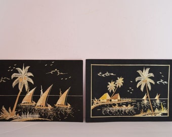 2 Original Vintage Bamboo Asian Scenes Created On Black Fabric