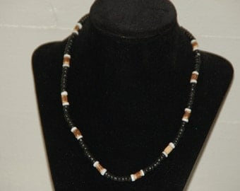 """18"""" Puka Shell, Wooden And Coconut Bead Surfer Choker/ Necklace NK-12"""