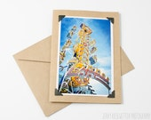 Carnival Photo Card, Ocean City Maryland, The Zipper - 4x6 5x7 Photo Card - Amusement Park Photo - Affordable Photography Print