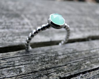 Chrysoprase Stacking Ring, Sterling Silver, Made to Order