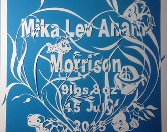 Sold..Custom paper cut, baby's name and birth date