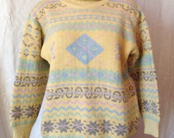 Sweater jacquard vintage, pastel colors, size UK 14, USA 32 F.