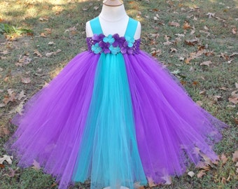 Purple and aqua tutu dress, purple dark aqua and teal tutu dress, purple flawer girl dress, purple birthday tutu