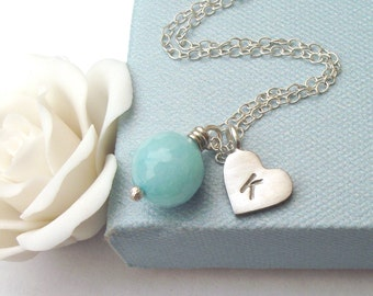Initial Heart With Aqua Jade Necklace