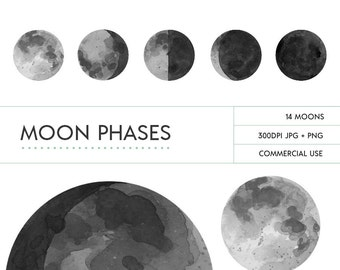 Hand Painted Watercolor Grey Moon Phases Digital Clip Art