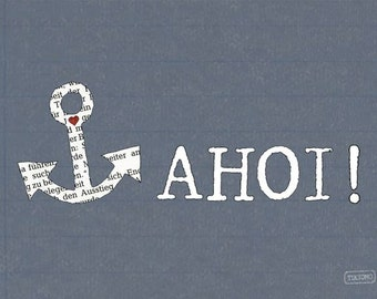 Postcard with anchor and Ahoy